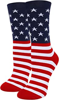 HAPPYPOP Women Girls Novelty Funny America Crew Socks Crazy USA Flag Striped