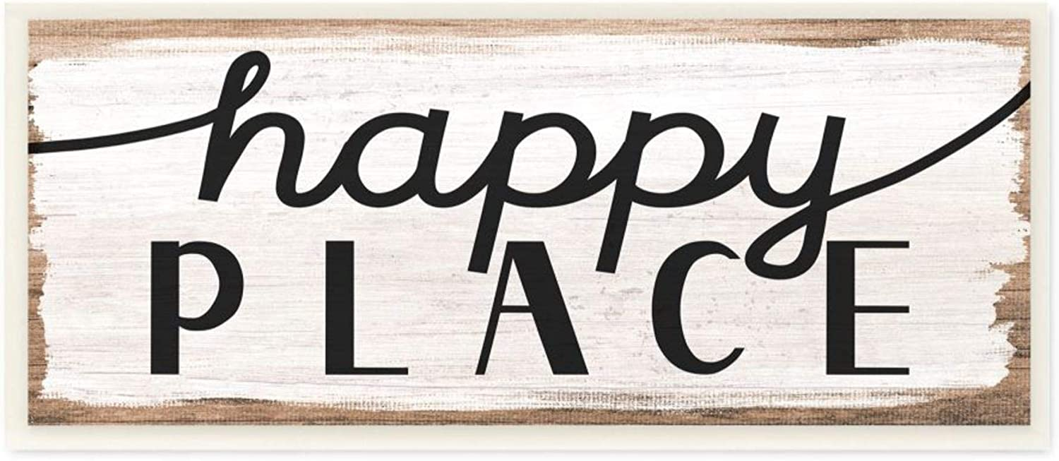 Luxury Stupell Industries Rustic Charm Classic Happy Place Sign Distressed Wood