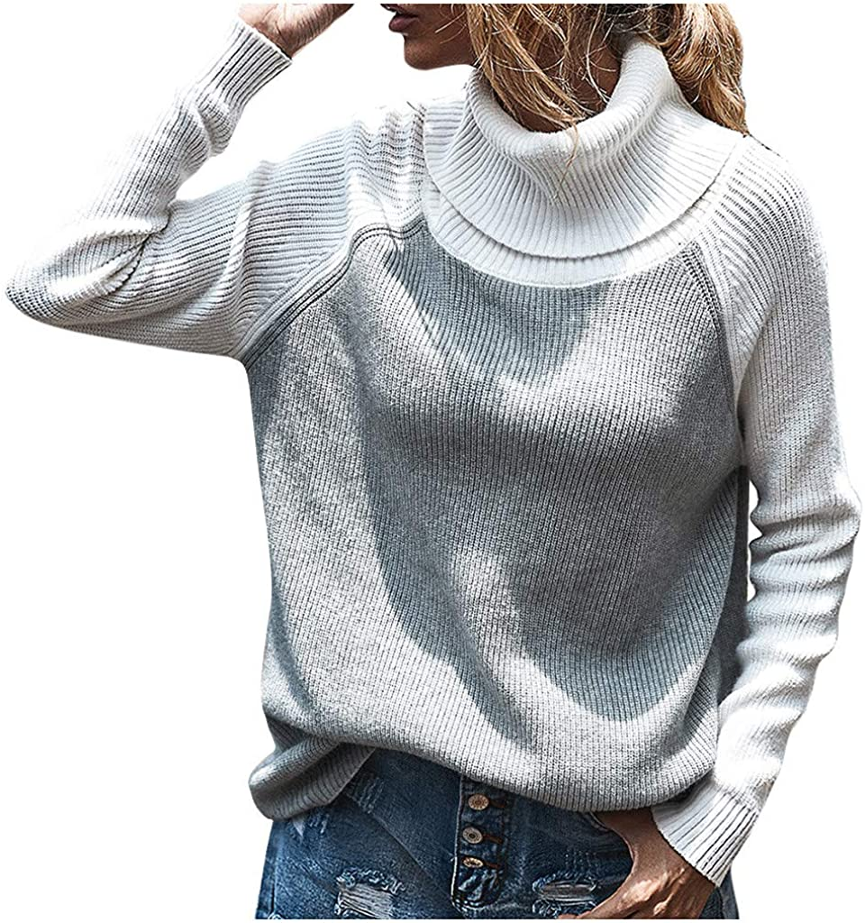Women's Sweaters Fashion Patchwork Striped Knitted Color Block Turtleneck Long Sleeves Pullover Blouse Sweatshirts Tops
