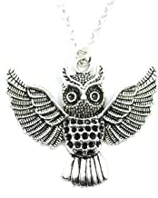 Running With Scissors Owl in Flight Silver Charm Necklace