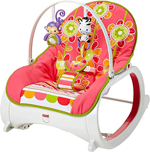 Fisher-Price Infant-to-Toddler Rocker Floral Confetti, stationary baby seat and rocking chair with toys