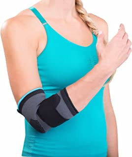 DonJoy Advantage DA161ES02-BLK-M Deluxe Elastic Elbow for Sprains, Strains, Golfer's and Tennis Elbow, Swelling, Black, Medium 9, 10.5
