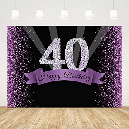 Muzi 8x10ft Step and Repeat 40th Happy Birthday Photography Backdrop Customized Birthday Party Photo Booth Banner Background Vinyl Photo Backdrops W-2033