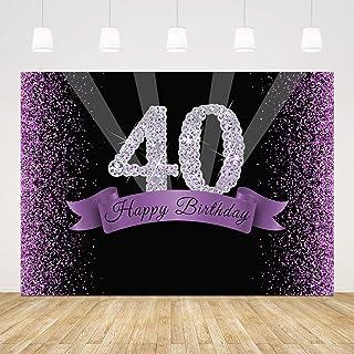 Fotohintergrund zum 40. Geburtstag für Fotografie, Glitzer, 17,8 x 1,5 m, glänzende Diamanten, Schwarz und Violett, 40. Geburtstag, Kuchen, Tischbanner 40 Fotos, Requisiten