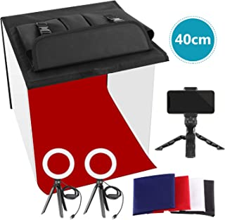 Neewer Photo Studio Box, 16x16inches Table Top Photo Light Box Continous Lighting Kit with 3 Tripod Stands, 2 LED Ring Lig...