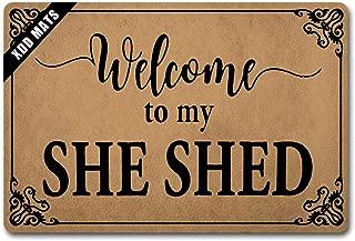 XDD Funny Rug Entryway Front Door mats Welcome to My She Shed Doormat Monogram Welcome Door Rugs Indoor Nonslip Non-WovenFabricTopwithaAnti-SlipRubberBack(23.6X15.7in)