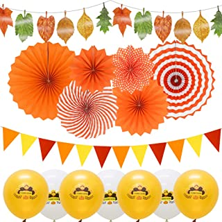 Fall Thanksgiving Party Decorations, Maple Leaves Garlands, Triangle Pennant Banner Flags, Hanging Paper Fans, Party Balloons for Harvest Birthday Garden Classroom Office Decorations
