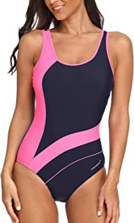 Women Athletic One Piece Swimsuits Racerback Swimwear Bathing Suit
