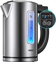 Electric Kettle Temperature Control, 1500W Ultra Fast Water Boiler Cordless Electric Water Heater Kettle with LED Indicator Light, 100% BPA free Window Lid and Gauge, 304 Stainless Steel Kettle ,1.7L, 2 Year Warranty, by Phonect