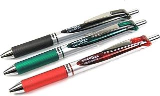 Pentel Energel 0,7/mm Lot de 3/xm Retractable Gel Roller HyperG/ Noir, Vert /& Rouge /Couleurs assorties