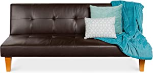Best Choice Products Convertible Lounge Futon Sofa Bed w/Adjustable Back, Sturdy Wood Frame, Faux Leather, Tufted Design - Brown