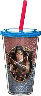 Zak Designs WWMA-0850 Wonder Woman Movie Double Walled Straw Tumbler, 17 oz, Multicolor