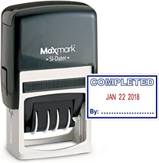 MaxMark Office Date Stamp with Completed Self Inking Date Stamp - Blue/RED Ink