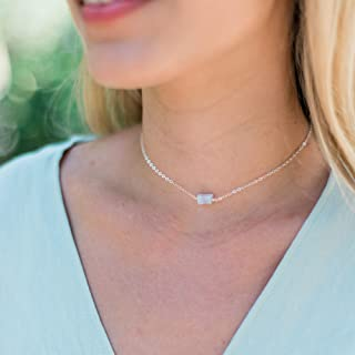 Raw blue lace agate crystal choker necklace in 925 sterling silver - 12