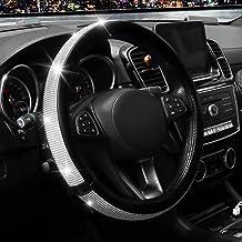 15 Inch Rhinestone Leather Steering Wheel Cover, Anti-Slip, Breathable, Durable, Bling Bling Diamond Steering Wheel Protec...