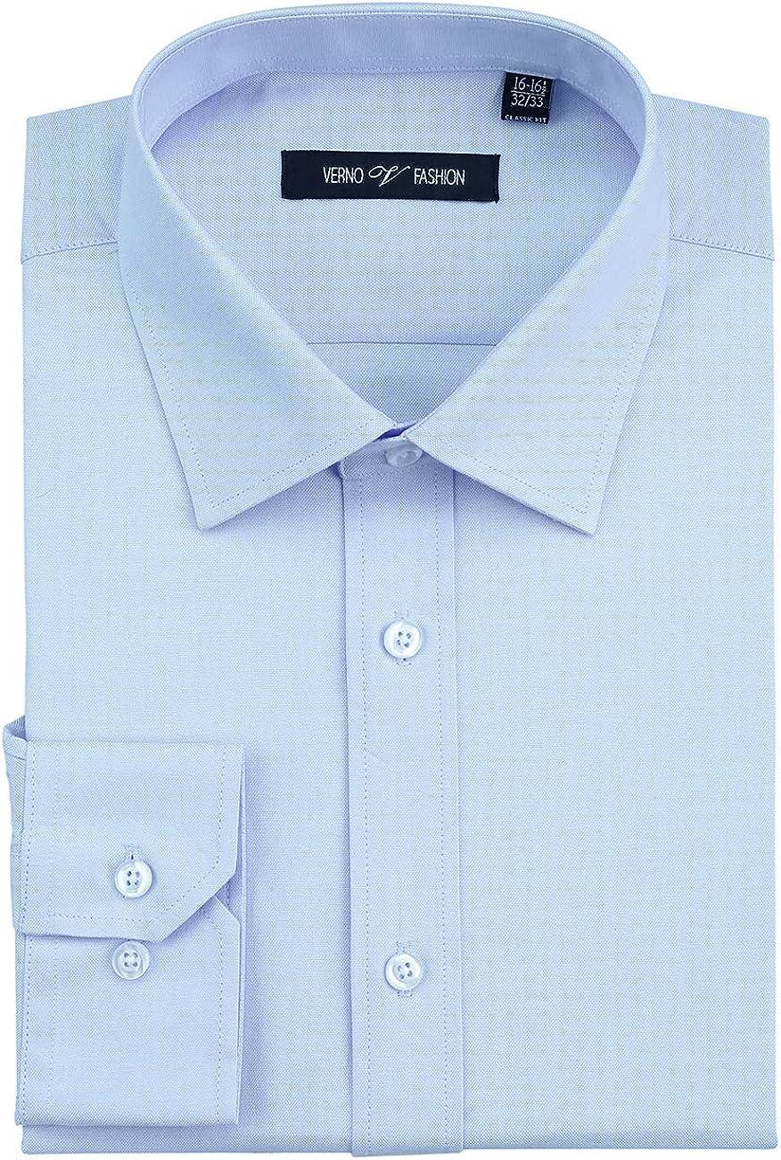 VERNO FASHION Men's Dress Shirt 100% CottonDressShirtsforMen Classic Fit Spread Collar Long Sleeve Dress Shirt