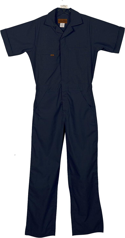 Men's Vintage Workwear Inspired Clothing Five Rock Poplin Short Sleeve Unlined Coveralls Regular Fit  AT vintagedancer.com