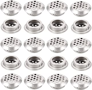 ZXHAO 20pcs 25mm Slope Circular Soffit Vent Stainless Steel Round Vent Mesh Hole Louver for Cabinet Bathroom Office Kitchen Cupboards Garderobe