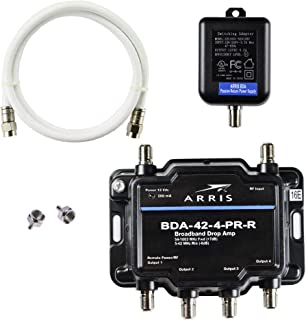 Arris 4-Port Bi-Directional Cable TV, OTA, Satellite HDTV Amplifier Splitter Signal Booster with Passive Return And Coax C...