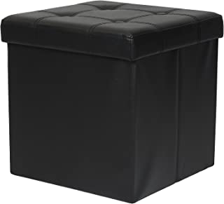 Otto & Ben Folding Toy Box Chest with Memory Foam Seat, Tufted Faux Leather Small Ottomans Bench Foot Rest Stool, Black