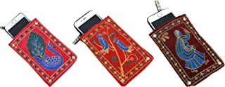 Kuber Industries Embroidery 3 Piece Velvet Mobile Pouch Cover
