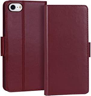 "FYY Case for iPhone SE 2020, iPhone 7/8 4.7"", Luxury [Cowhide Genuine Leather][RFID Blocking] Wallet Case Cover with [Kick..."