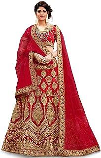 فستان Lehenga Choli للسيدات أصفر حريري نصف مخيط