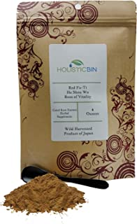 Red Fo-Ti/He Shou Wu Fermented Herbal Extract Powder by Holistic Bin - Root of Vitality 4 oz - (75 Servings) Includes Bamboo Serving Spoon.