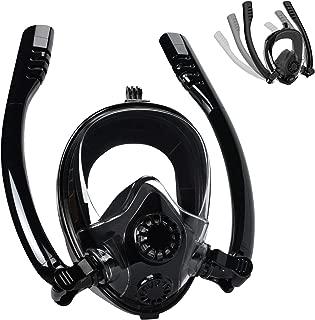 Cevapro Snorkel Mask Full Face, Safe K2 Breathing System Full Face Snorkeling Mask for Natural Breath & Safe Snorkeling Anti Leak Anti Fog Diving Mask Dry Snorkel Set for Kids Adult