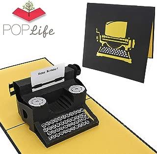 """PopLife Schreibmaschine""""Happy Birthday!"""" 3D Pop Up Geburtstagskarte – Vintage Karte für Hipster, Bday Karte für Autor – Flach zum Versand – Geschenk für Oma, Antique, Over the Hill, altmodisch"""