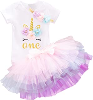 Baby Girls 1st Birthday Unicorn Outfits Set Rainbow Tutu...