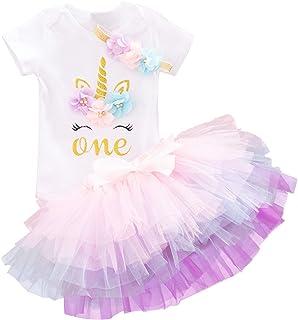 Baby Girls 1st Birthday Unicorn Outfits Set Rainbow Tutu...