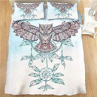 Papa&Mima 3D Colorful Owl Dream Catcher Fashion Brief Polyester Microfiber 2/3pc Duvet Cover Set Pillowcases Bedding Set 3pcs US Queen Size 89