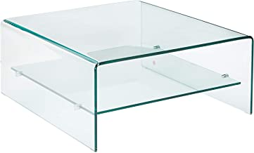 Christopher Knight Home Classon Square Glass Coffee Table with Shelf, Transparent
