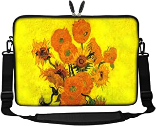Meffort Inc 17 17.3 inch Neoprene Laptop Sleeve Bag Carrying Case with Hidden Handle and Adjustable Shoulder Strap Van Gogh Sunflowers