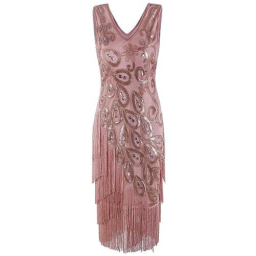 8253d720428 Vijiv Women s Vintage 1920s Style Peacock Sequin Roaring 20s Gatsby Party  Flapper Dress