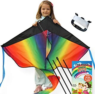 aGreatLife Large Rainbow Kite for Kids with Gloves - 51 inch Kite Easy to Fly for Outdoor Games and Activities | Easy to F...
