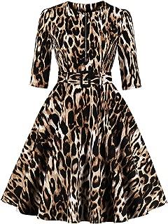 Women's 3/4 Sleeve Zipper Belt Pocket Leopard Print Vintage Dress