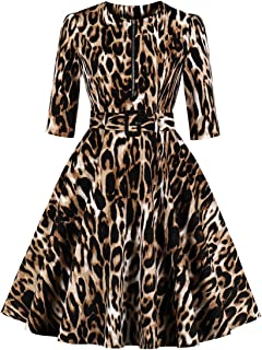Wellwits Women's 3/4 Sleeve Zipper Belt Pocket Leopard Print Vintage Dress