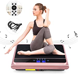 Natini Vibration Platform Machine, Whole Body Vibration Plate Exercise Machine with Loop Resistance Bands for Home Fitness Training Equipment & Weight Loss