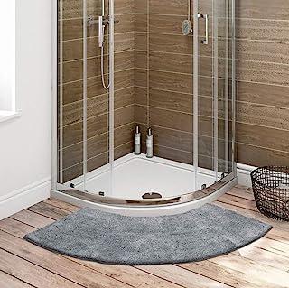 Seavish Luxury Grey Shag Curved Bath Rug, 18 x 57 inch Non Slip Microfiber Soft Absorbent Fanned Shower Mats Washable Bath...
