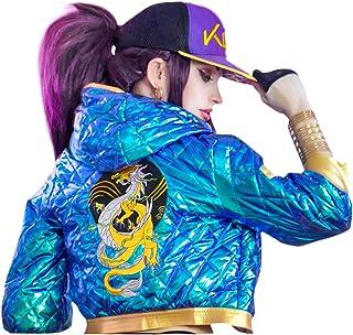 DAZCOS Akali Cosplay Costume Sparkle High Waisted Jacket/Hat/Waist belt for Women