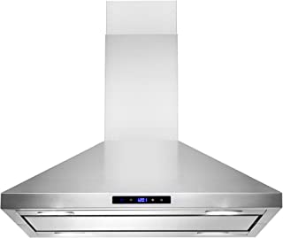 """AKDY Island Mount Range Hood –30"""" Stainless-Steel Hood Fan for Kitchen – 3-Speed Professional Quiet Motor – Premium Touch Control Panel – Minimalist Design – Mesh Filters & LED Lights"""