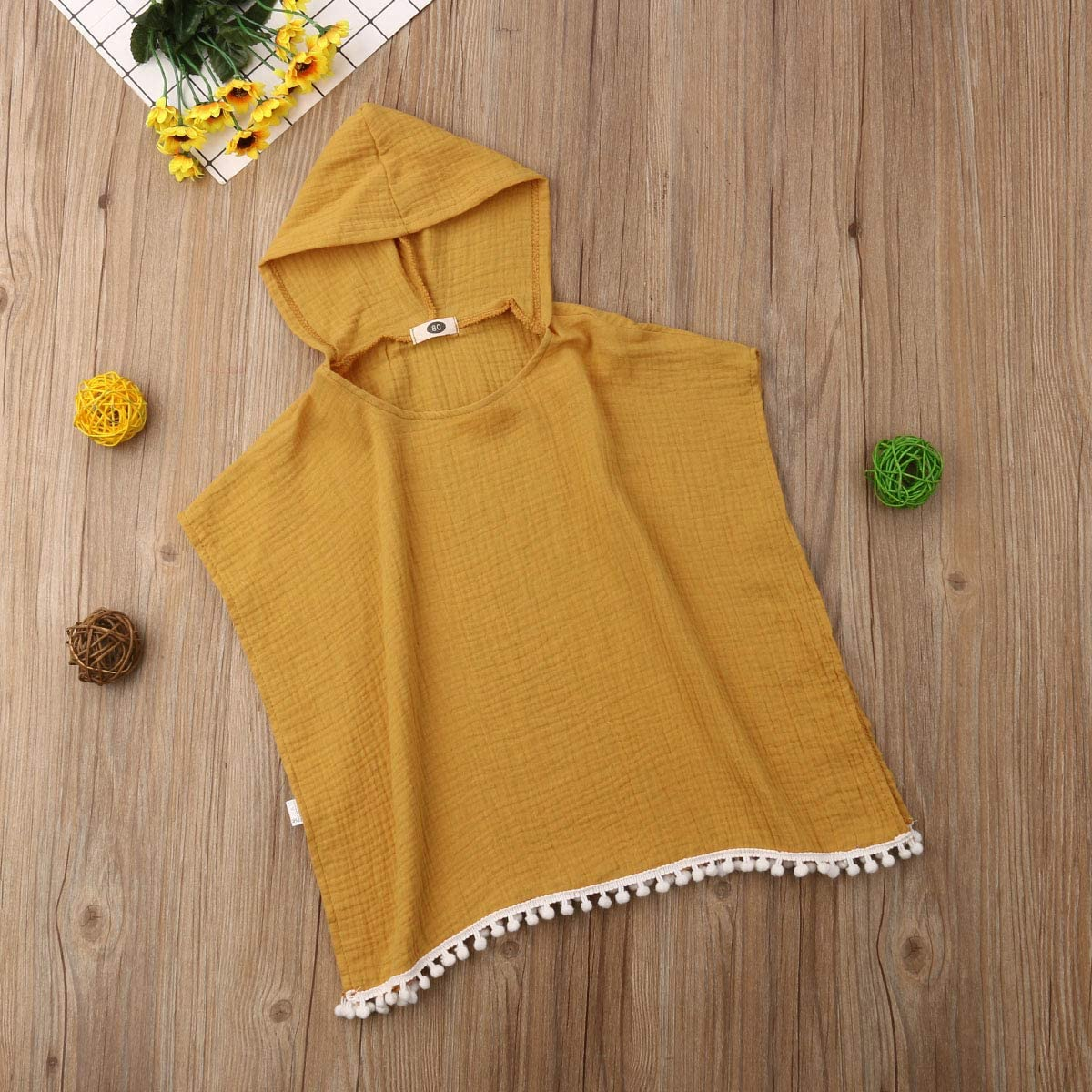Kids Toddler Baby Girls Boys Beach Cover Up Solid Color Hooded Sleeveless Tassel Long Cape Dress Bath Clothes
