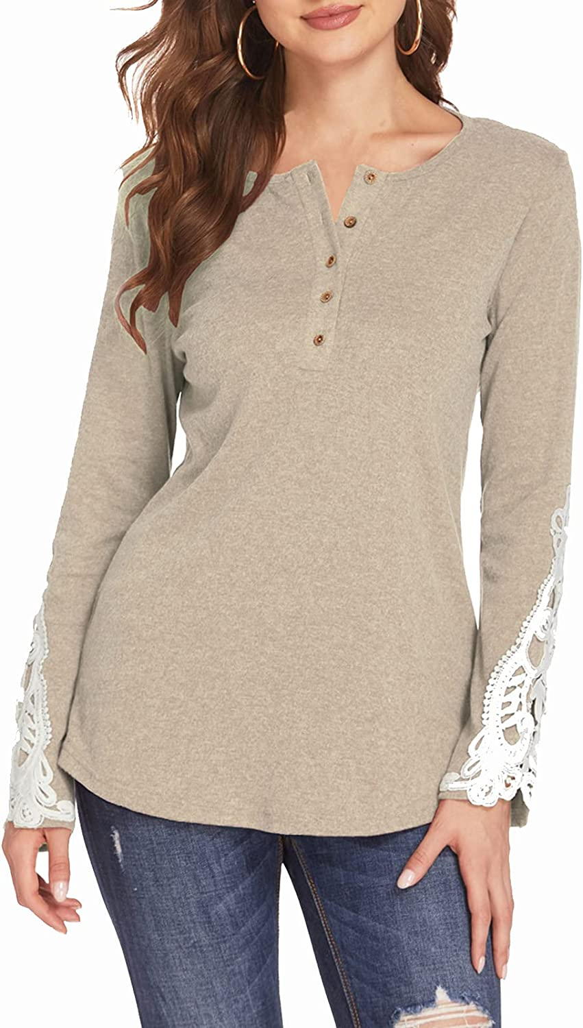 Newchoice Womens Long Sleeve Shirts V Neck Lace Button Down Henley Tunic Tops