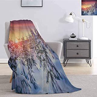 Winter Soft Throw Blanket for Bed Couch Snowy Landscape at Gloomy Sunrise Scenery in Mountain Forest Serene Nature Photo Super Soft Cozy Queen Blanket W59 x L70.5 Inch White Red