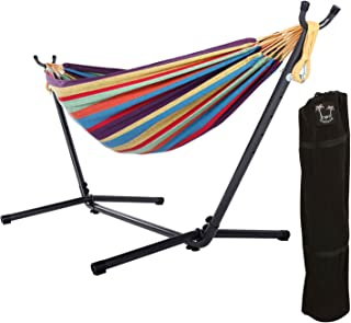 ONCLOUD Double Hammock with 9 FT Stand Space Saving, Hammock Stands Heavy Duty Includes Portable Carrying Case for Outdoor or Indoor (Rainbow)