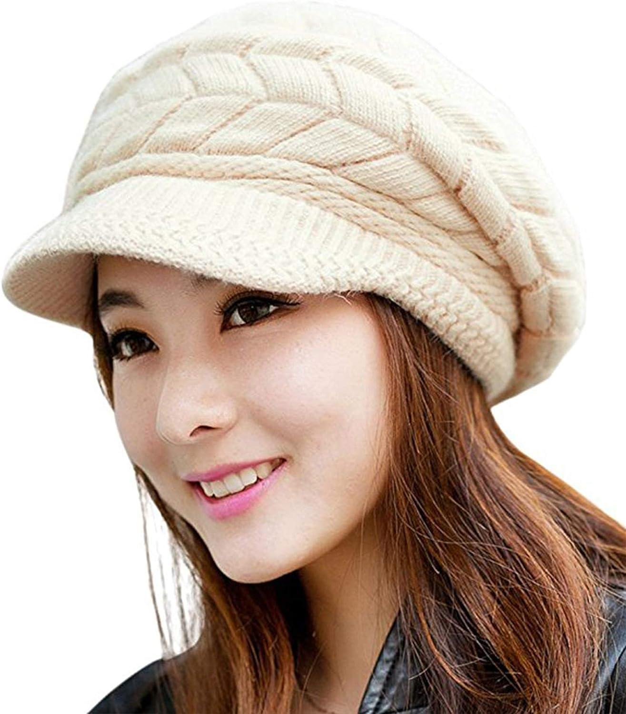 Vocanbomor Winter Genuine Hats for Ranking TOP2 Women Fleece Ski Cap Lined Slou Skull