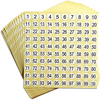 "dealzEpic - Number Stickers - 1 to 100 Self Adhesive 0.4"" Small Round Labels 