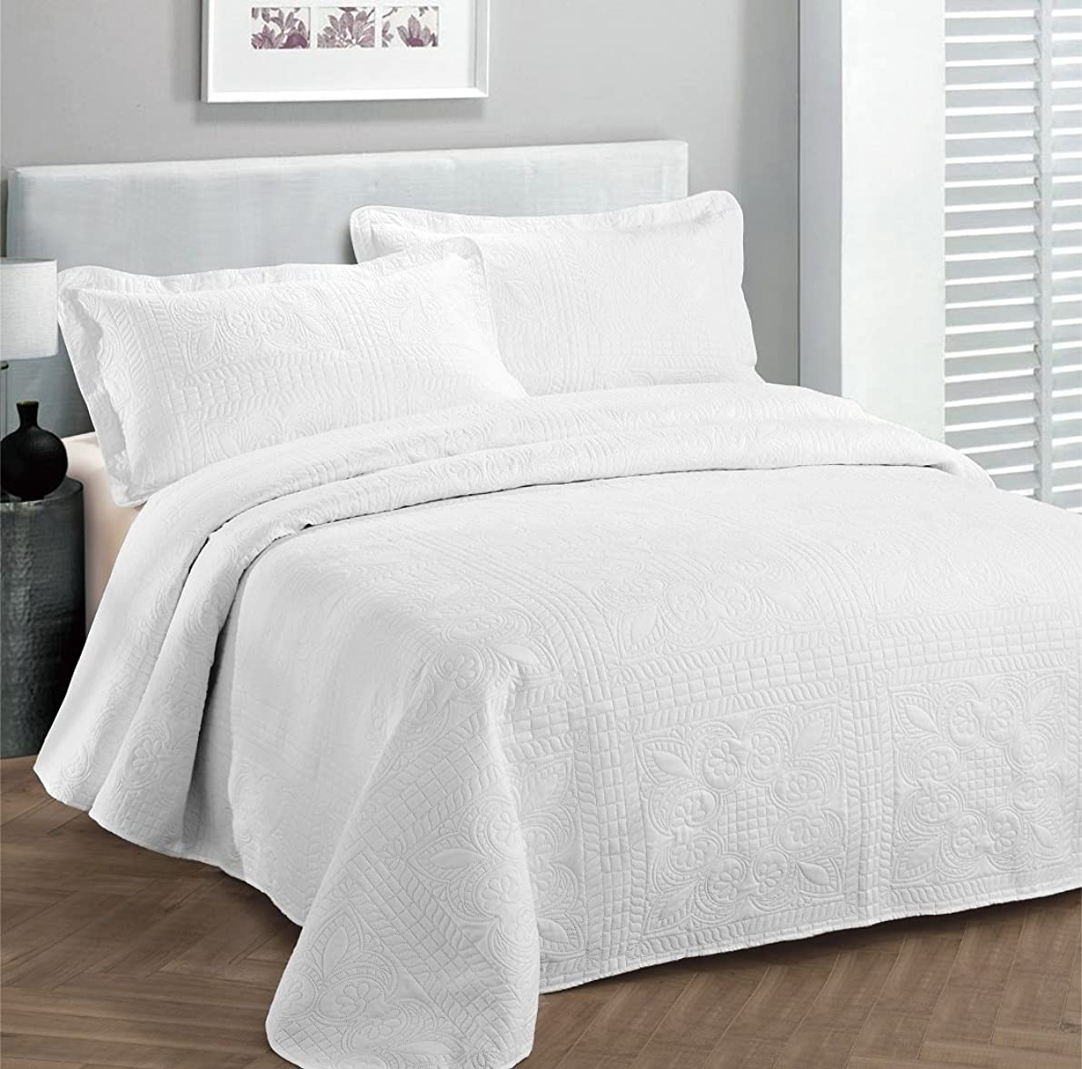 Fancy Collection 3pc Luxury Bedspread Coverlet Embossed Bed Cover Solid White New Over Size 118
